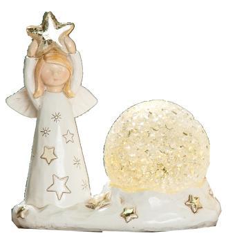 GILDE Deko Schutzengel mit Stern und LED Kugel, beige gold, 7x11x10 cm