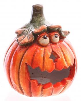 Windlicht Kürbis Deko orange 15cm - Halloween-Dekoration