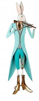 XXL Deko-Hase Osterhase mit Violine Osterdeko blau stehend Osterfest 72cm