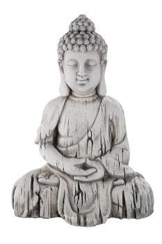 Thai Buddha Gartenskulptur Statue Japanische-Gartendeko grau