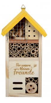 Insektenhotel Insektenhaus Wildbienenhotel Insektenkasten gelb natur