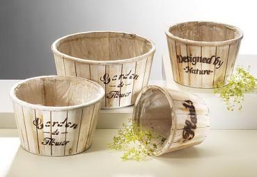 Holzschalen zum Bepflanzen - white-washed - (4er Set)