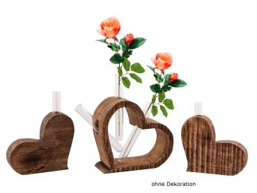 Tischdeko Herzen 3-teilig Blumenvase Mangoholz massiv