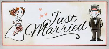 DIO Wandbild aus Metall Just married..., 30x13 cm
